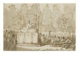 Transfert de la statue de Henri IV de Lemot avenue des Champs-Elysées le 14 août 1818 Giclée-Druck von Antoine Charles Horace Vernet