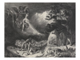 The Shadow of Marguerite Appears to Faust, 3rd State Giclee Print by Eugene Delacroix