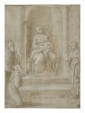 La Vierge et l'Enfant trônant, avec sainte Catherine et deux saints Reproduction procédé giclée par Raffaello Sanzio
