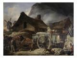 Le four à plâtre, à Montmartre Giclee Print by Antoine Charles Horace Vernet