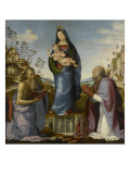 La Vierge et l&#39;Enfant entre Saint J&#233;r&#244;me et Saint Z&#233;nobe Reproduction proc&#233;d&#233; gicl&#233;e par Mariotto Albertinelli