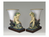 Two Vases of Fome Cornet Child Sitting on a Dolphin Giclee Print