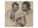 Trois études de la tête d'un jeune noir Giclée-tryk af Jean Antoine Watteau