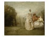 Les Deux cousines Giclée-tryk af Jean Antoine Watteau