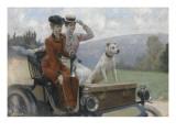 Les Dames Goldsmith au bois de Boulogne en 1897 sur une voiturette Peugeot. Giclee Print by Julius Leblanc Stewart