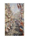 La Rue Montorgueil à Paris fête du 30 juin 1878 Giclee Print by Claude Monet