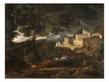 L'Orage (dit l'orage Pointel) Reproduction procédé giclée par Nicolas Poussin