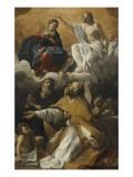 Le Couronnement de la Vierge avec saint Augustin et saint Guillaume d'Aquitaine Giclée-tryk af Giovanni Lanfranco