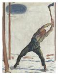 Le bûcheron (der Holzfäller) Gicleetryck av Ferdinand Hodler