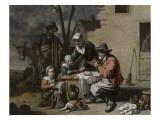 Le Repas villageois Reproduction procédé giclée par Antoine Le Nain