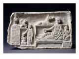 Stèle funéraire familiale au nom d'Atilion, Plousia et Khairemon (type Kom Abou Billo) Reproduction procédé giclée