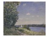 Sentier au bord de l'eau à Sahurs le soir Reproduction procédé giclée par Alfred Sisley