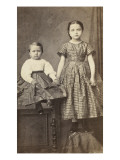 Two Children, One Seated and One Standing on a Table Giclee Print