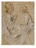 Deux études d'une femme assise Giclée-tryk af Jean Antoine Watteau