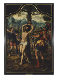 Triptyque du martyre de saint S&#233;bastien Gicl&#233;e-Druck von Hemessen Jan Sanders Van