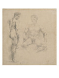Two Studies of Nude Men One Standing, Another Sitting Giclee Print by Eugene Delacroix