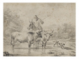 Two Oxen and a Shepherd on a Donkey Through the Ford Giclee Print