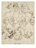 Treize caricatures Giclée-tryk af Pier Francesco Mola
