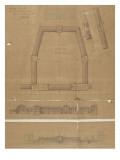 Caserne des Célestins (Paris) : plan du troisième étage et des combles, coupe longitudinale, Giclée-Druck von Marcellin Varcollier