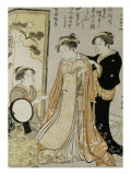 Femme s&#39;habillant aid&#233;e de deux servantes Giclee Print by Torii Kiyonaga