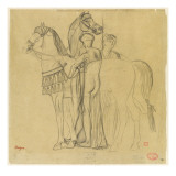 Deux chevaux conduits par deux femmes Giclee Print by Edgar Degas