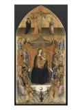 Virgin Enthroned with Ten Angels and Twelve Saints Reproduction procédé giclée par de la prédelle de l'Ashmolean Museum Maître