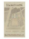 Caserne des Célestins (Paris) : plan du rez-de-chaussée, coupe transversale et façade sur la rue Giclée-Druck von Marcellin Varcollier