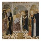 L'Annonciation et quatre saints. Avec saint Jean-Baptiste, saint Antoine, sainte Catherine et Giclée-tryk af Cosimo Rosselli