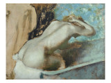 Femme assise sur le rebord d&#39; une baignoire et s&#39;&#233;pongeant le cou Giclee Print by Edgar Degas