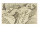 Etude de femme nue, couchée sur un lit cachant le visage de sa main droite Impression giclée par Théophile Alexandre Steinlen