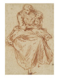 Woman Sitting in Front, Holding a Child in Her Arms Giclee Print by Nicolas Lancret