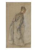 Femme debout de dos se retournant Giclée-tryk af Jean Antoine Watteau