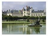 Fontainebleau : Façades donnant sur le grand parterre, avec au centre un bassin ; jardins de Le Reproduction procédé giclée