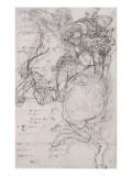 Guerrier sur un cheval cabré Giclée-Druck von Katsushika Hokusai