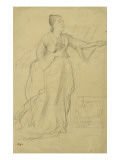 Woman Standing, Singing, Study for the Song Rehearsal Giclee Print by Edgar Degas