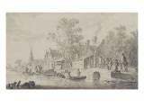 Village au bord de l'eau Giclée-Druck von Jan Van Goyen