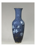 Vase Vase, with Blue Whipped, Decorated with Peonies Giclee Print