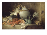 Vase, homard, fruits et gibier Giclée-Druck von Anne Vallayer-coster