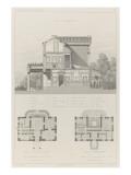 Villa à Neuilly-sur-Seine de M.Labrouste : coupe transversale, plans de rez Giclee Print