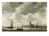 Vue de Dordrecht en aval de la Grote Kerk Giclée-Druck von Jan Van Goyen