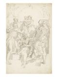 la Vierge à l'Enfant sur un piedestal entourés de quatre personnages et des Putti Giclée-Druck von Arnould de Vuez