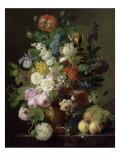 Vase de fleurs, raisins et pêches Giclée-Druck von Jan Frans van Dael