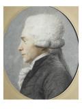 Portrait en buste de profil de Maximilien de Robespierre représenté en costume de député du Giclée-tryk af Joseph Boze