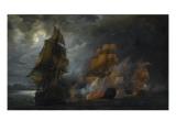 """Combat naval entre le vaisseau français """"le Triton"""" commandé par le comte de Ligondès et le Stampa giclée di Pierre Julien Gilbert"""