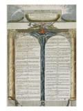 Erklæringen om menneskets og borgernes rettigheder vedtaget af Nationalforsamlingen, 1793 Giclée-tryk