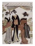 Femmes admirant des pivoines en fleurs Giclee Print by Torii Kiyonaga
