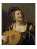 Femme accordant un luth Giclée-Druck von Gerrit Van Honthorst