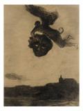Démon ailé dans les airs, tenant un masque Giclée-tryk af Odilon Redon