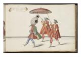 """Album ; Ballet de Douairière de Billebahaut ; """" Seconde entrée du Grand Seigneur """"; trois figures Giclee Print by Daniel Rabel"""
