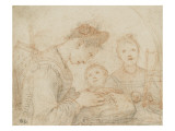 Femme assise et brodant avec deux enfants Reproduction procédé giclée par Federico Zuccaro